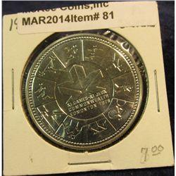"81. 1978 XI Commonwealth Edmonton Games Canada Silver Prooflike Dollar. In 2"" x2""."