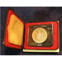 83. 1871-1971 British Columbia, Canada Silver Prooflike Dollar. In original Royal Canadian Mint felt