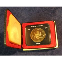 87. 1871-1971 British Columbia, Canada Silver Prooflike Dollar. In original Royal Canadian Mint felt