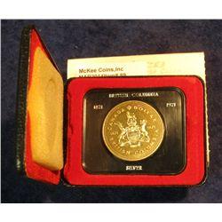 89. 1871-1971 British Columbia, Canada Silver Prooflike Dollar. In original Royal Canadian Mint felt