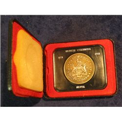 90. 1871-1971 British Columbia, Canada Silver Prooflike Dollar. In original Royal Canadian Mint felt