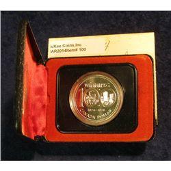 100. 1874-1974 Winnipeg, Canada Silver Prooflike Dollar. In original Royal Canadian Mint felt-lined