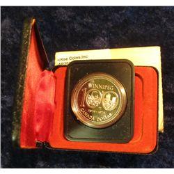 144. 1874-1974 Winnipeg, Canada Silver Prooflike Dollar. In original Royal Canadian Mint felt-lined