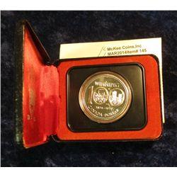 145. 1874-1974 Winnipeg, Canada Silver Prooflike Dollar. In original Royal Canadian Mint felt-lined