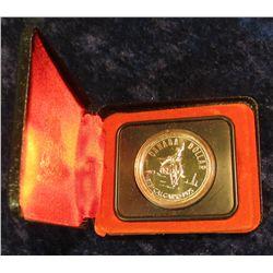 "146. 1875-1975 Calgary ""Bucking Bronc"" Canada Silver Prooflike Dollar. In original Royal Canadian Mi"