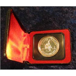 "147. 1875-1975 Calgary ""Bucking Bronc"" Canada Silver Prooflike Dollar. In original Royal Canadian Mi"