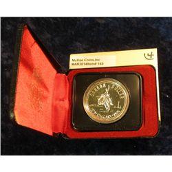 "149. 1875-1975 Calgary ""Bucking Bronc"" Canada Silver Prooflike Dollar. In original Royal Canadian Mi"