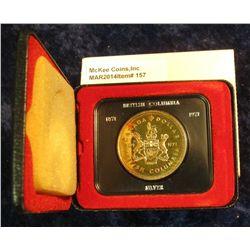 157. 1871-1971 British Columbia, Canada Silver Prooflike Dollar. In original Royal Canadian Mint fel