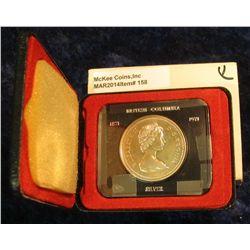 158. 1871-1971 British Columbia, Canada Silver Prooflike Dollar. In original Royal Canadian Mint fel