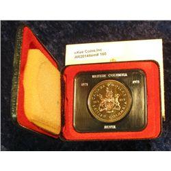 160. 1871-1971 British Columbia, Canada Silver Prooflike Dollar. In original Royal Canadian Mint fel