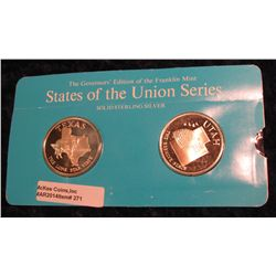 "271. Franklin Mint Solid Sterling Sillver States of the Union Medals ""Texas"" & ""Utah"". 39 mm each &"