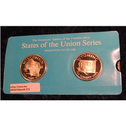 "272. Franklin Mint Solid Sterling Sillver States of the Union Medals ""Wisconsin"" & ""Wyoming"". 39 mm"