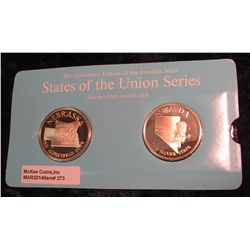 "273. Franklin Mint Solid Sterling Sillver States of the Union Medals ""Nebraska"" & ""Nevada"". 39 mm ea"