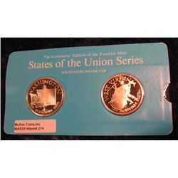"274. Franklin Mint Solid Sterling Sillver States of the Union Medals ""Washington"" & ""West Virginia""."