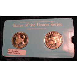 "275. Franklin Mint Solid Sterling Sillver States of the Union Medals ""Maine"" & ""Maryland"". 39 mm eac"