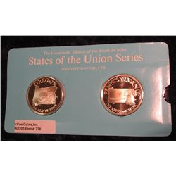 "276. Franklin Mint Solid Sterling Sillver States of the Union Medals ""Oregon"" & ""Pennsylvania"". 39 m"