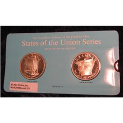 "277. Franklin Mint Solid Sterling Sillver States of the Union Medals ""Arizona"" & ""Arkansas"". 39 mm e"