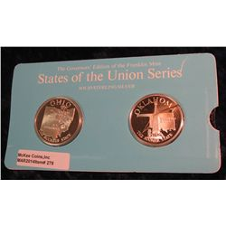 "278. Franklin Mint Solid Sterling Sillver States of the Union Medals ""Ohio"" & ""Oklahoma"". 39 mm each"