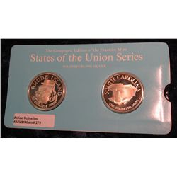 "279. Franklin Mint Solid Sterling Sillver States of the Union Medals ""Rhode Island"" & ""South Carolin"