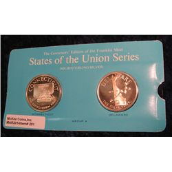 "281. Franklin Mint Solid Sterling Sillver States of the Union Medals ""Connecticut"" & ""Delaware"". 39"