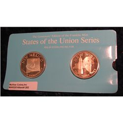 "282. Franklin Mint Solid Sterling Sillver States of the Union Medals ""New Mexico"" & ""New York"". 39 m"