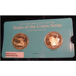"283. Franklin Mint Solid Sterling Sillver States of the Union Medals ""Florida"" & ""Georgia"". 39 mm ea"