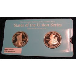 "284. Franklin Mint Solid Sterling Sillver States of the Union Medals ""New Hampshire"" & ""New Jersey""."