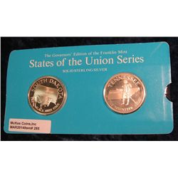 "285. Franklin Mint Solid Sterling Sillver States of the Union Medals ""South Dakota"" & ""Tennessee ""."