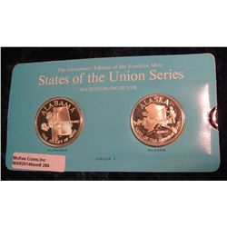 "286. Franklin Mint Solid Sterling Sillver States of the Union Medals ""Alabama"" & ""Alaska"". 39 mm eac"