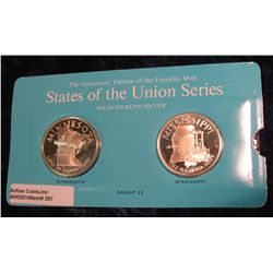 "287. Franklin Mint Solid Sterling Sillver States of the Union Medals ""Minnesota"" & ""Mississippi"". 39"