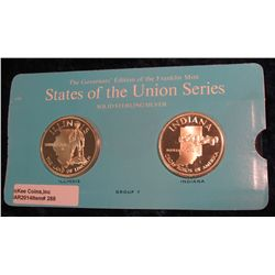 "288. Franklin Mint Solid Sterling Sillver States of the Union Medals ""Illinois"" & ""Indiana"". 39 mm e"
