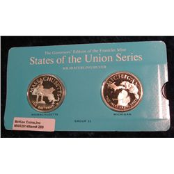 "289. Franklin Mint Solid Sterling Sillver States of the Union Medals ""Massachusetts"" & ""Michigan"". 3"