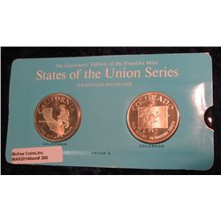 "290. Franklin Mint Solid Sterling Sillver States of the Union Medals ""California"" & ""Colorado"". 39 m"