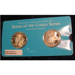 "291. Franklin Mint Solid Sterling Sillver States of the Union Medals ""Vermont"" & ""Virginia"". 39 mm e"
