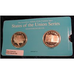 "292. Franklin Mint Solid Sterling Sillver States of the Union Medals ""Iowa"" & ""Kansas"". 39 mm each &"