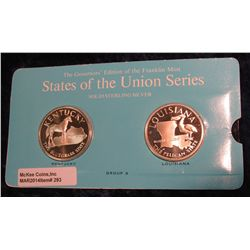 "293. Franklin Mint Solid Sterling Sillver States of the Union Medals ""Kentucky"" & ""Louisiana"". 39 mm"
