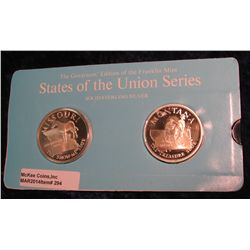 "294. Franklin Mint Solid Sterling Sillver States of the Union Medals ""Missouri"" & ""Montana"". 39 mm e"