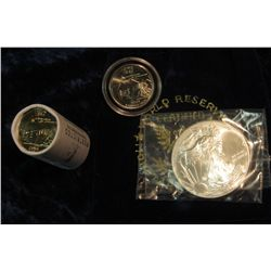 """309. Royal Blue Felt Bag """"World Reserve Certified Monetary Exchange"""" containing a half roll Iowa Sta"""