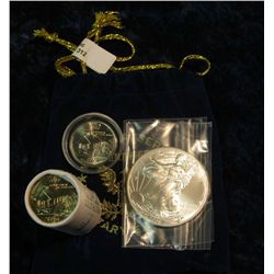 """312. Royal Blue Felt Bag """"World Reserve Certified Monetary Exchange"""" containing a half roll Iowa Sta"""
