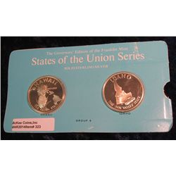 """323. Franklin Mint Solid Sterling Sillver States of the Union Medals """"Hawaii"""" & """"Idaho"""". 39 mm each"""