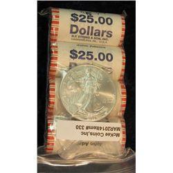 330. $100 face value in John Adams Bank-wrapped Rolls of Golden Presidential Dollars & 2008 Gem BU A