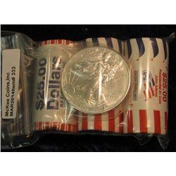 333. U.S. Philadelphia Mint-wrapped rolls of James Madison & John Adams; a bank-wrapped roll of Jame