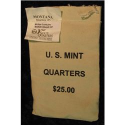 337. U.S. Mint Sewn Bag containing $25 face value in Montana Statehood Quarters from the Philadelphi