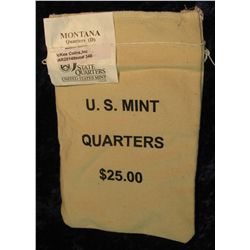 340. U.S. Mint Sewn Bag containing $25 face value in Montana Statehood Quarters from the Denver Mint