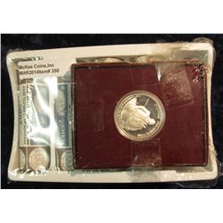 350. U.S. Mint box containing (2) 2005 P & (2) D Original BU Rolls of Bison Nickels Set; & 1982 S Pr