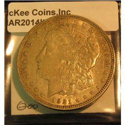 392. 1921 D U.S. Morgan Silver Dollar. EF 40. Toned.