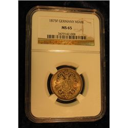 401. 1875 F Silver Mark Germany NGC MS 65 #3479142-008. Very scarce in 65.
