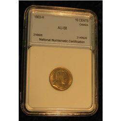 406. 1903H Canada Ten Cent NNC AU 58 #2149928.