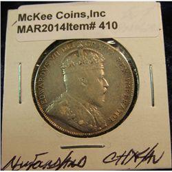410. 1904H Newfoundland Canada Silver Half Dollar. Ch.EF/AU. Light toning.