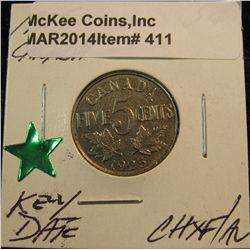 411. 1925 Canada Nickel. Choice EF/AU. Lite tone. Key date.